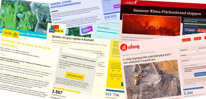 Collage von Ausschnitten der Appelle unserer Partner_innenorganisationen gegen Siemens