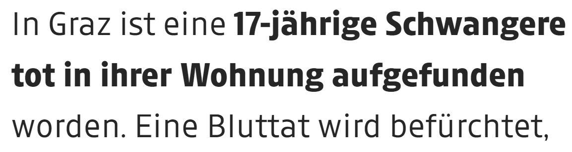 """Auf dem Screenshot des Artikels ist zu lesen: """"In Graz ist eine 17-jährige Schwangere tot in ihrer Wohnung aufgefunden worden. Eine Bluttat wird befürchtet"""""""
